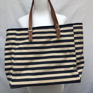 Pia Rossini striped navy blue/gold beach tote bag